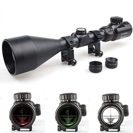 Tactical 3-9X56 Red and Green Mil-dot Illuminated Optics Hunting Air Rifle Scope with Free