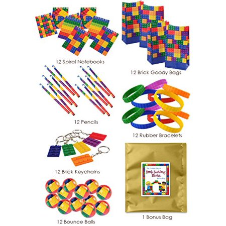 72 Piece Brick Building Block Theme Birthday Party Favor Bundle Pack for 12 Kids](Themes For Birthdays)