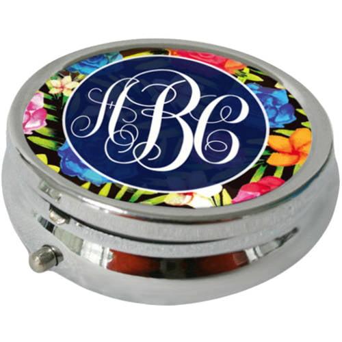 Round Floral Night Design Monogram Pill Box