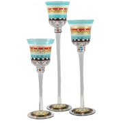 """Set of 3 Mosaic Carnival Confetti Hand Painted Stemmed Votive Candleholders 12"""""""