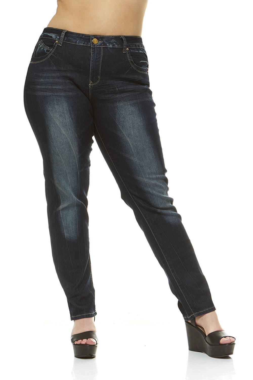 Classic 5 Pocket Slim Fit Skinny Stretch Jeans For Women Plus Size 4 Color Choices