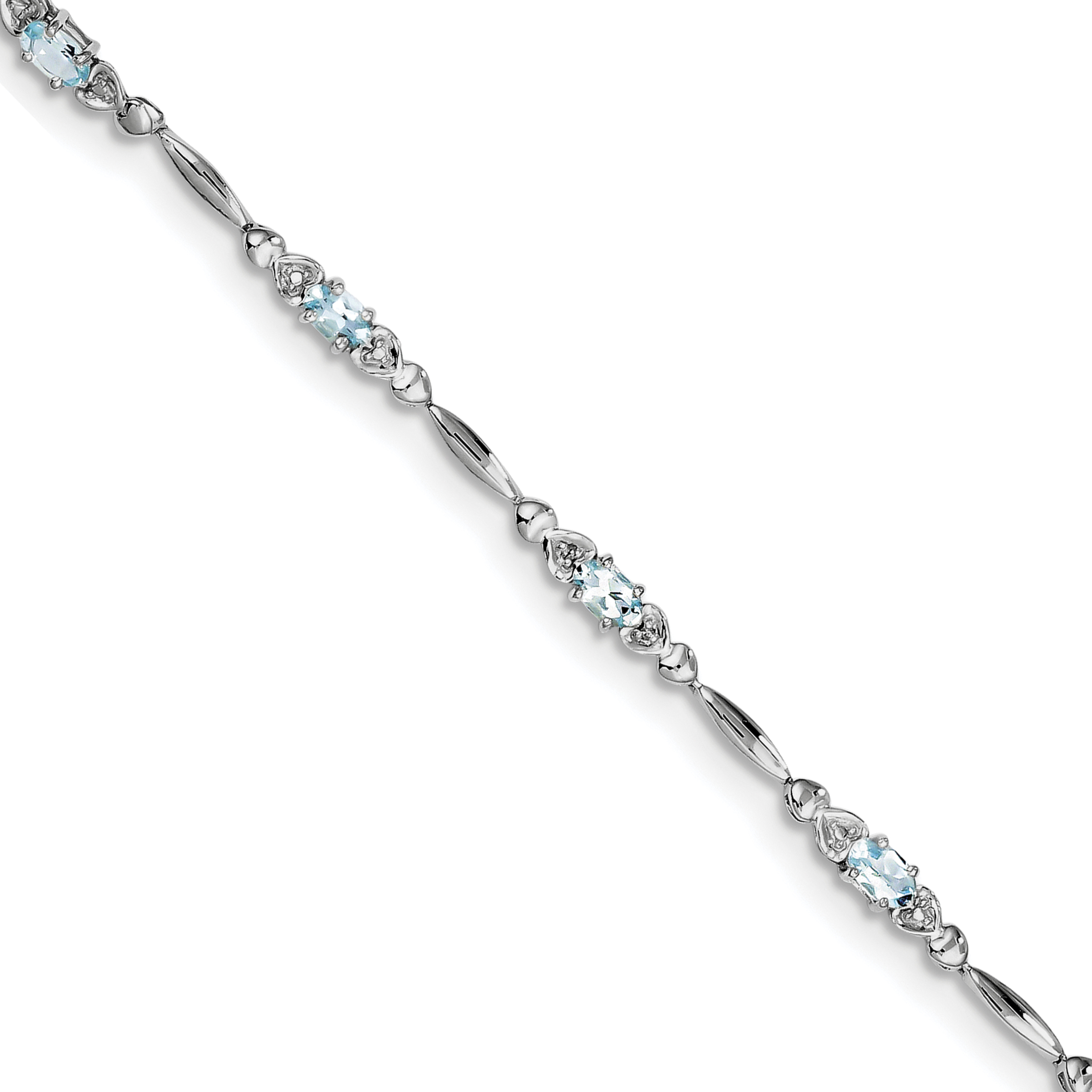 Roy Rose Jewelry Sterling Silver Aquamarine and Diamond Bracelet ~ Length 7'' inches by