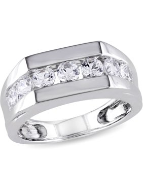 69557eb26a698e Product Image 1-1/5 Carat T.G.W. Created White Sapphire Sterling Silver  Men's Fashion Ring