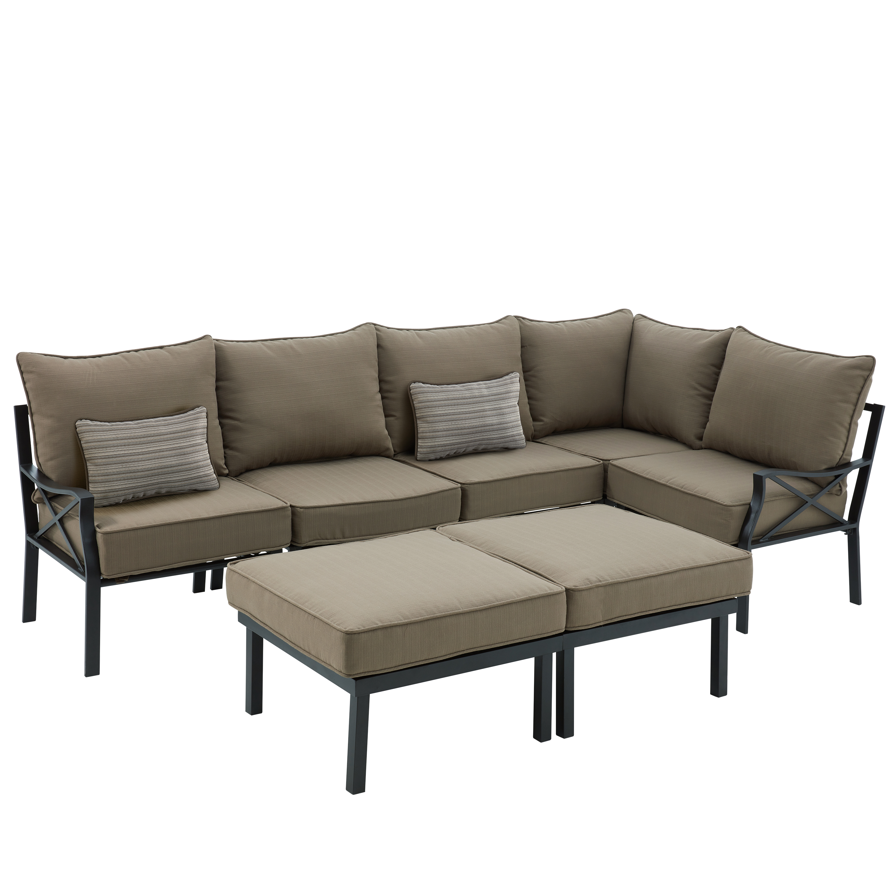 Mainstays Sandhill 7 Piece Outdoor Sofa Sectional Set, Seats 5 Image 3 Of 9