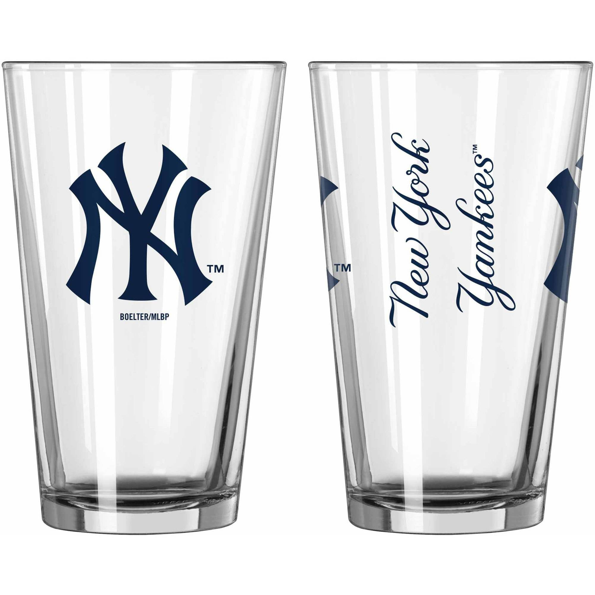 Boelter Brands MLB Set of Two 16 Ounce Game Day Pint Set, New York Yankees