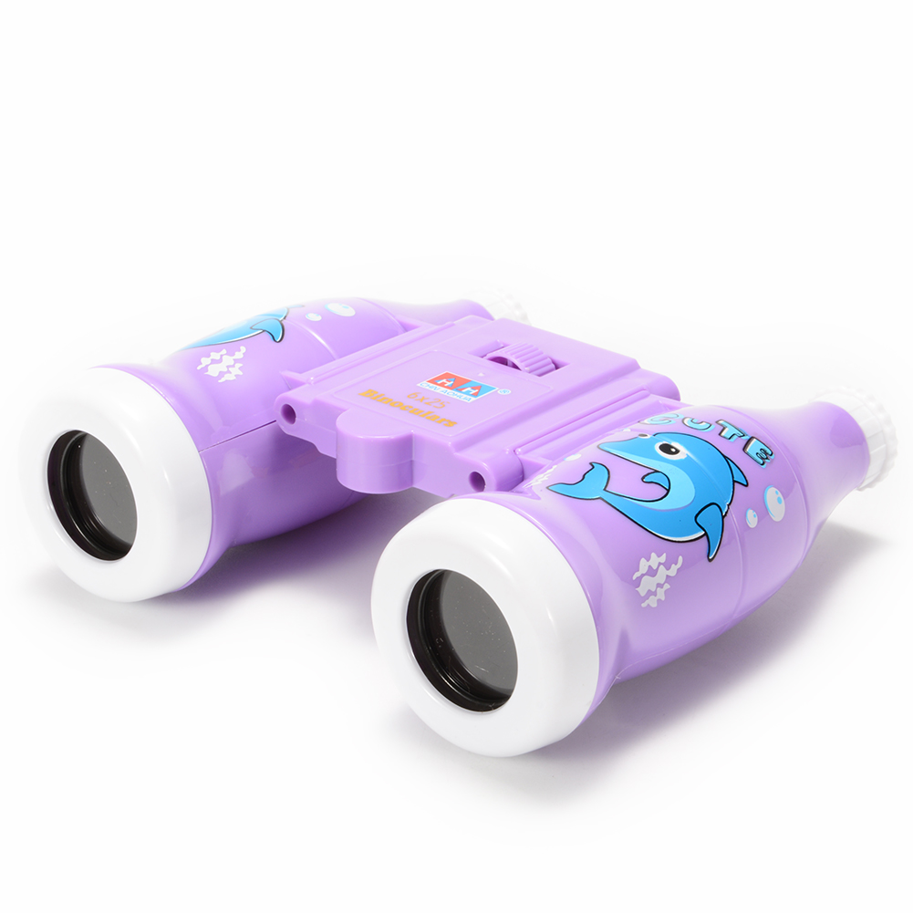 1 PCS Color Box Package ABS Material Purple Cartoon Bottle Style Variable Focus Binoculars Toy Bird Watching Hiking Educational Science Kits Toy Gift For Kids 6x25