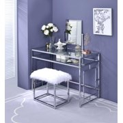 ACME Josh Vanity Table, Mirror, and Stool in White and Chrome