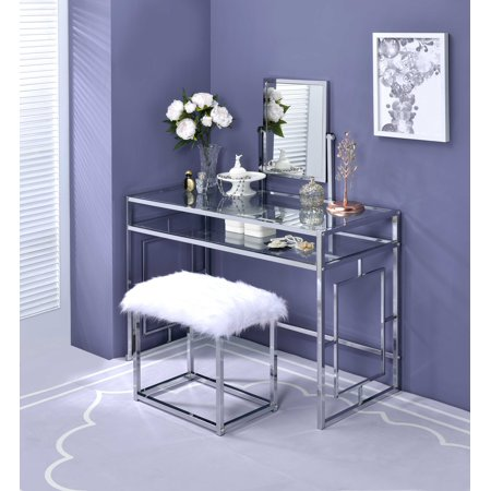 ACME Josh Vanity Table, Mirror, and Stool in White and (Broadway Lighted Vanity Makeup Mirror & Desk Set)