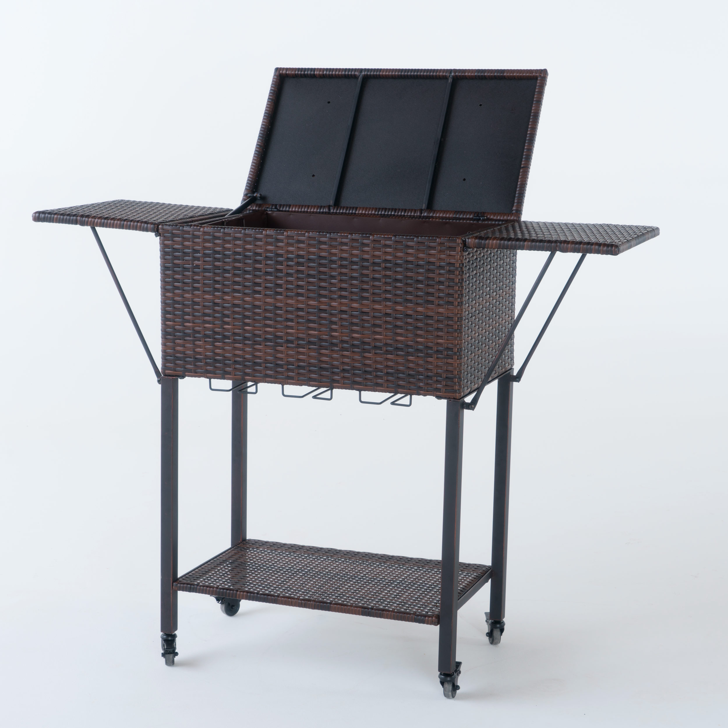 Parma Outdoor Portable Multibrown Wicker Bar Serving Cart with Wine Glass Rack by GDF Studio