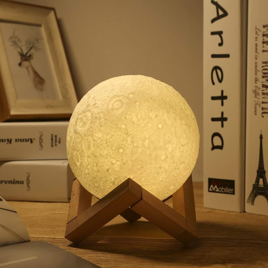 Moon Lamp Moon Light Night Light for Kids Gift for Women USB Touch Control Brightness Two Tone Warm and Cool White Lunar Lamp
