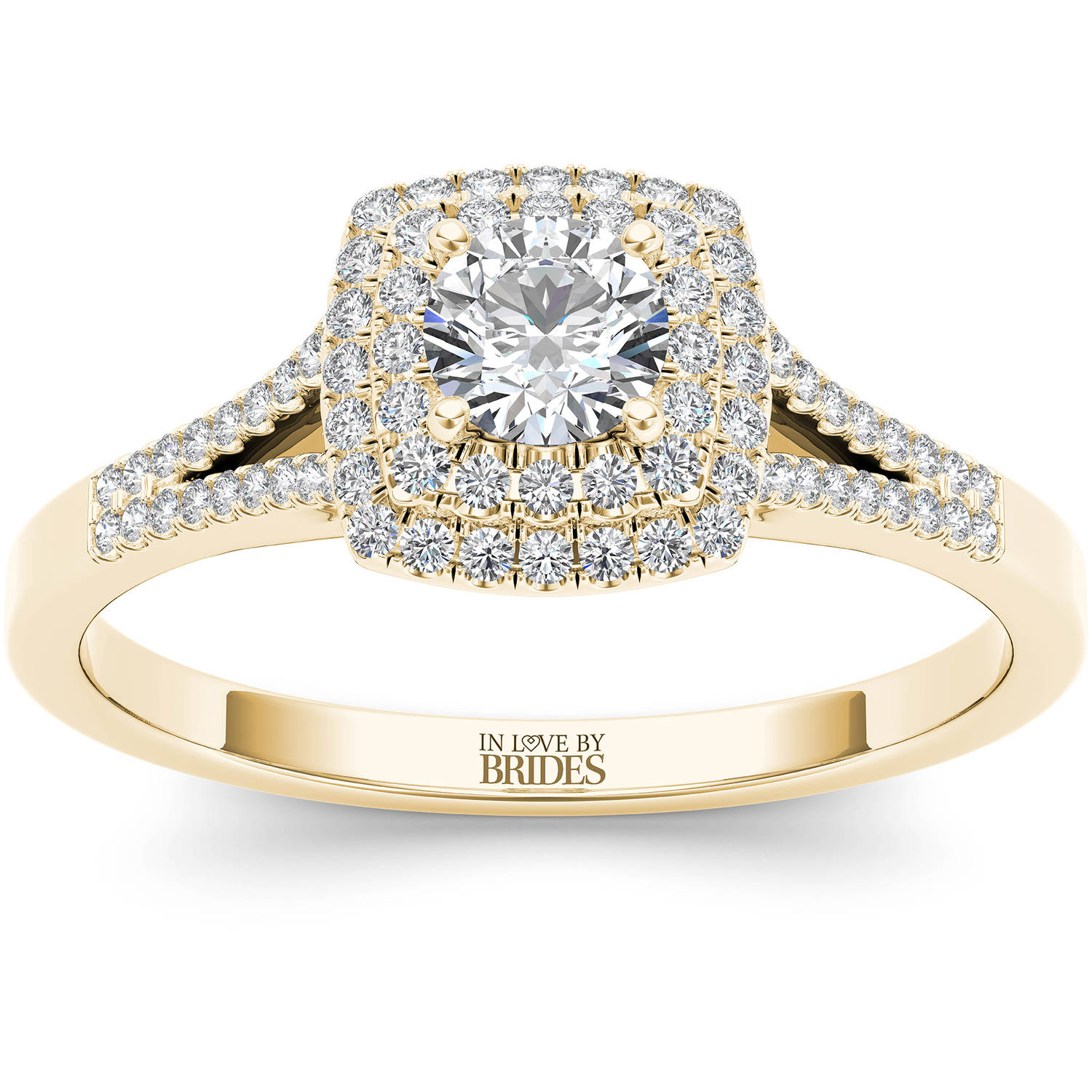 IN LOVE BY BRIDES 1/2 Carat T.W. Certified Diamond Double Halo 14kt Yellow Gold Engagement Ring