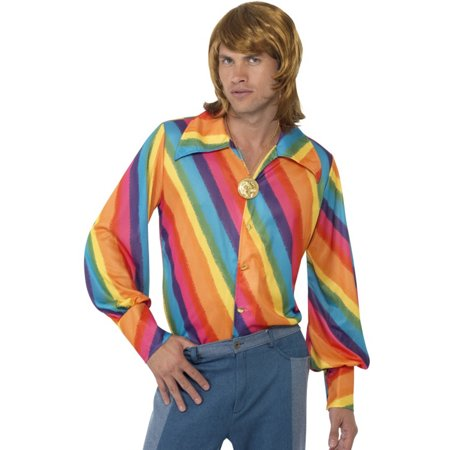 Adults Men's 70s Groovy Rainbow Color Disco Shirt Costume Medium - 70s Look For Men