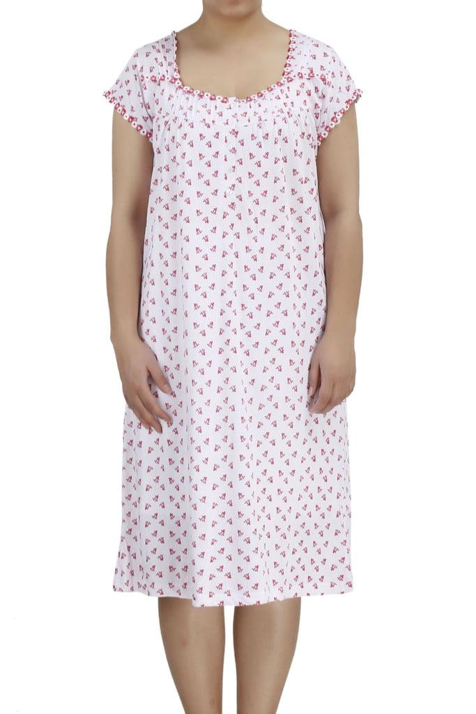 Women's Short Sleeve Cotton Lingerie Nightgown by EZI