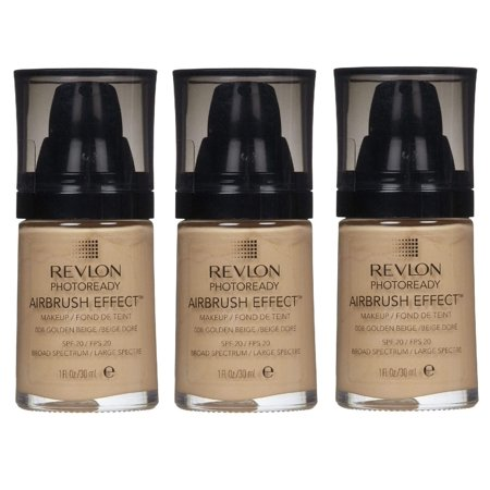 Revlon Photoready Airbrush Effect Makeup Golden Beige #008 (Pack of 3) + Yes to Tomatoes Moisturizing Single Use Mask