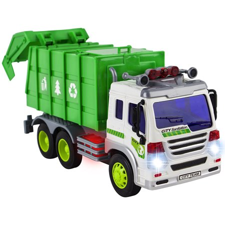 Friction Powered Garbage Truck Toy Vehicle With Lights And Sounds - Push And Go Sanitation Recycling Truck Toy For Boys & Girls - Great Car Toys Gift Giveaways For Your Kids