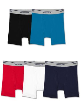 Fruit of the Loom Assorted Cotton Boxer Brief Underwear, 5 Pack (Toddler Boys)