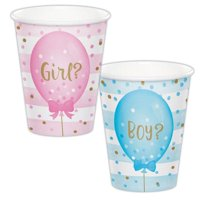 Creative Converting Gender Reveal Balloons Hot/Cold Paper Cups 9 Oz., 8 ct