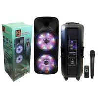 """Mr. Dj DJ215BTA Dual 15"""" 5000W Max Power Speaker with Built-In Bluetooth & Battery, 1"""" LCD/MP3/USB/SD Slot"""
