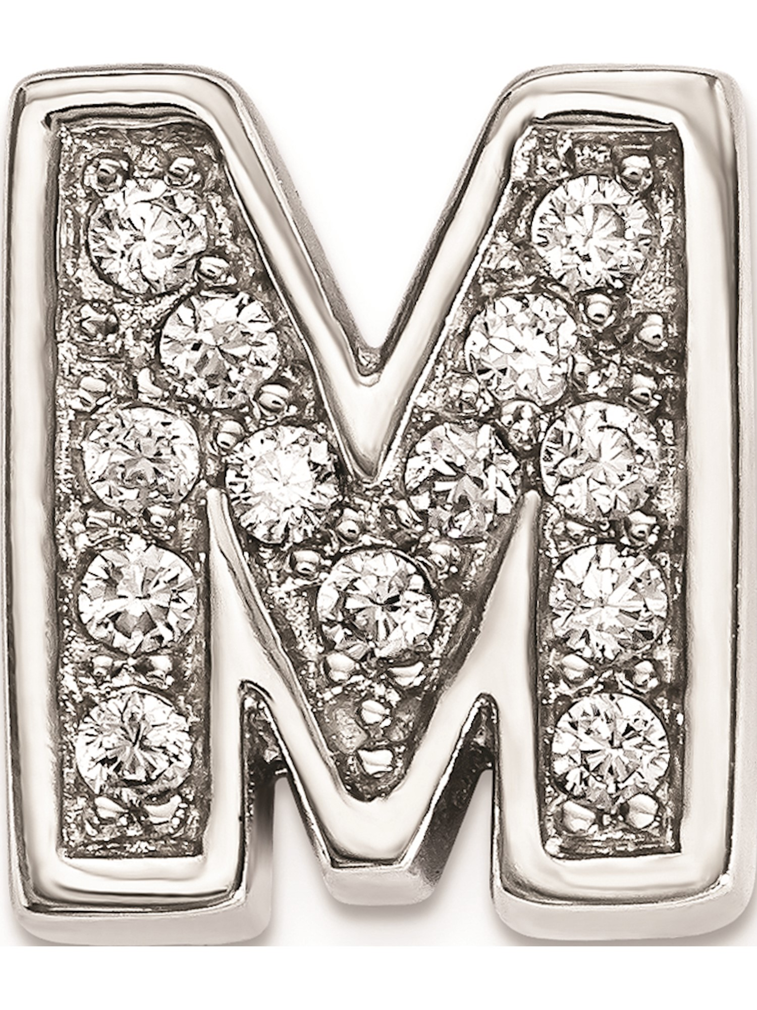 925 Sterling Silver Rhodium plated Heart Slide Charm and Pendant