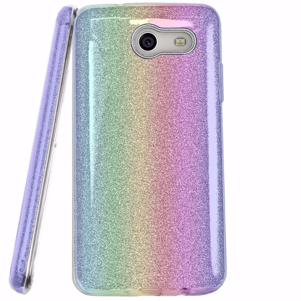 For Alcatel Zip Case Hybrid Glitter TPU On PC Hard Case Phone Cover (Glitter Colorful)
