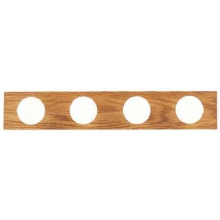 4 Light Bath Bar Solid Oak With Polished Brass Finish Accents Only One