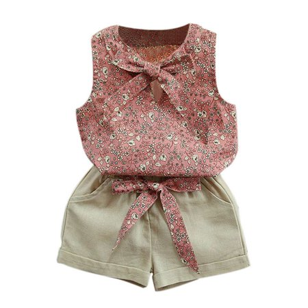 3 Piece Sleeveless Suit (Weefy 2-7Y Sweet Girls Summer Sleeveless Floral Bow Vest + Shorts Suit)