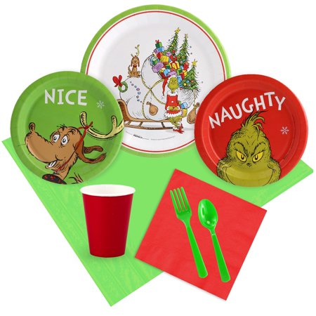 Dr. Seuss Grinch Christmas Tableware Kit (Serves 8) (Dr Seuss Christmas Decorations)