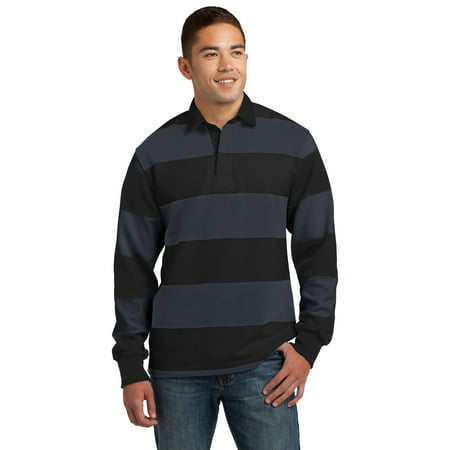 Sport-Tek ST301 Classic Long Sleeve Rugby Polo, Black/ Graphite Grey, XS