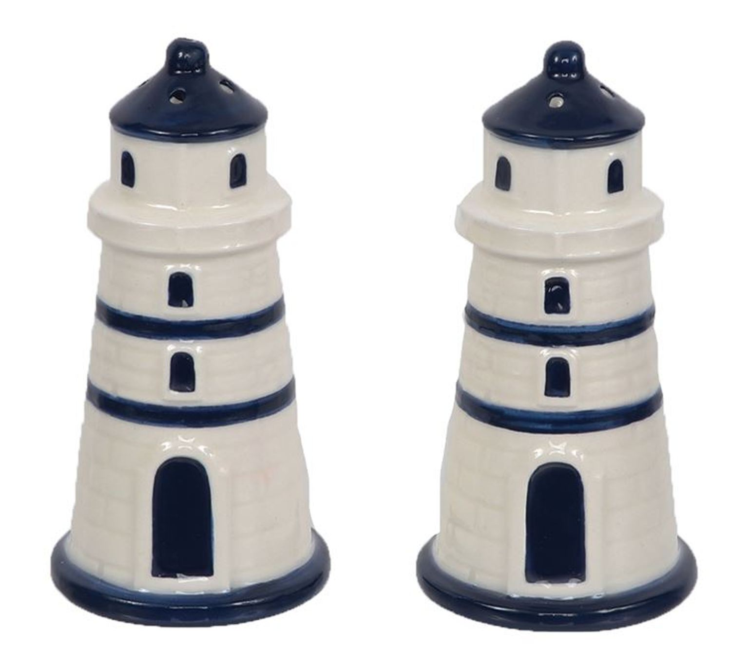 Navy Blue and White Lighthouses Salt and Pepper Shakers Set