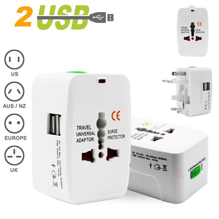 Costech Universal Worldwide Travel Adapter Plug Wall Charger Adapter Ac Power Au Uk Us Eu Plug Adaptor 2 Usb Charging Port Surge Protector All In One