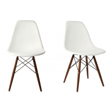 Admirable White Plastic Chair Dark Walnut Wood Eiffel Legs Contemporary Retro Molded Style White Accent Plastic Dining Shell Chair With Dark Walnut Wood Eiffel Ibusinesslaw Wood Chair Design Ideas Ibusinesslaworg