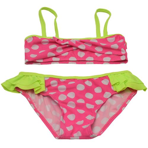 2B Real Little Girls Green Fuchsia Contrast Dot Tube Top 2 Pc Swimsuit 4-6X
