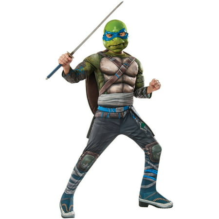 Teenage Mutant Ninja Turtles 2 Leonardo Deluxe Child Halloween Costume - Good Halloween Costumes For Teenage Couples