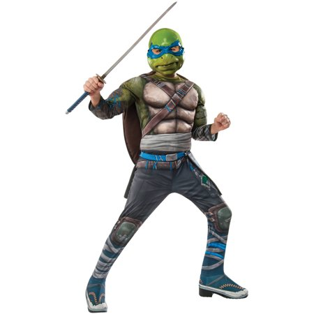 Teenage Mutant Ninja Turtles 2 Leonardo Deluxe Child Halloween Costume (Ninja Costume With Weapons)