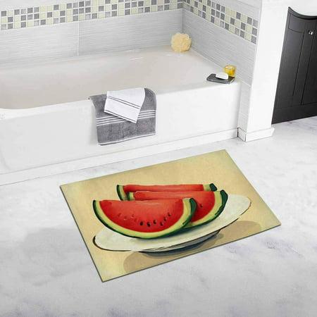 CADecor Watermelon Slices on Plate Bathroom Mat Bath Rug, Doormat 30x18 inches ()