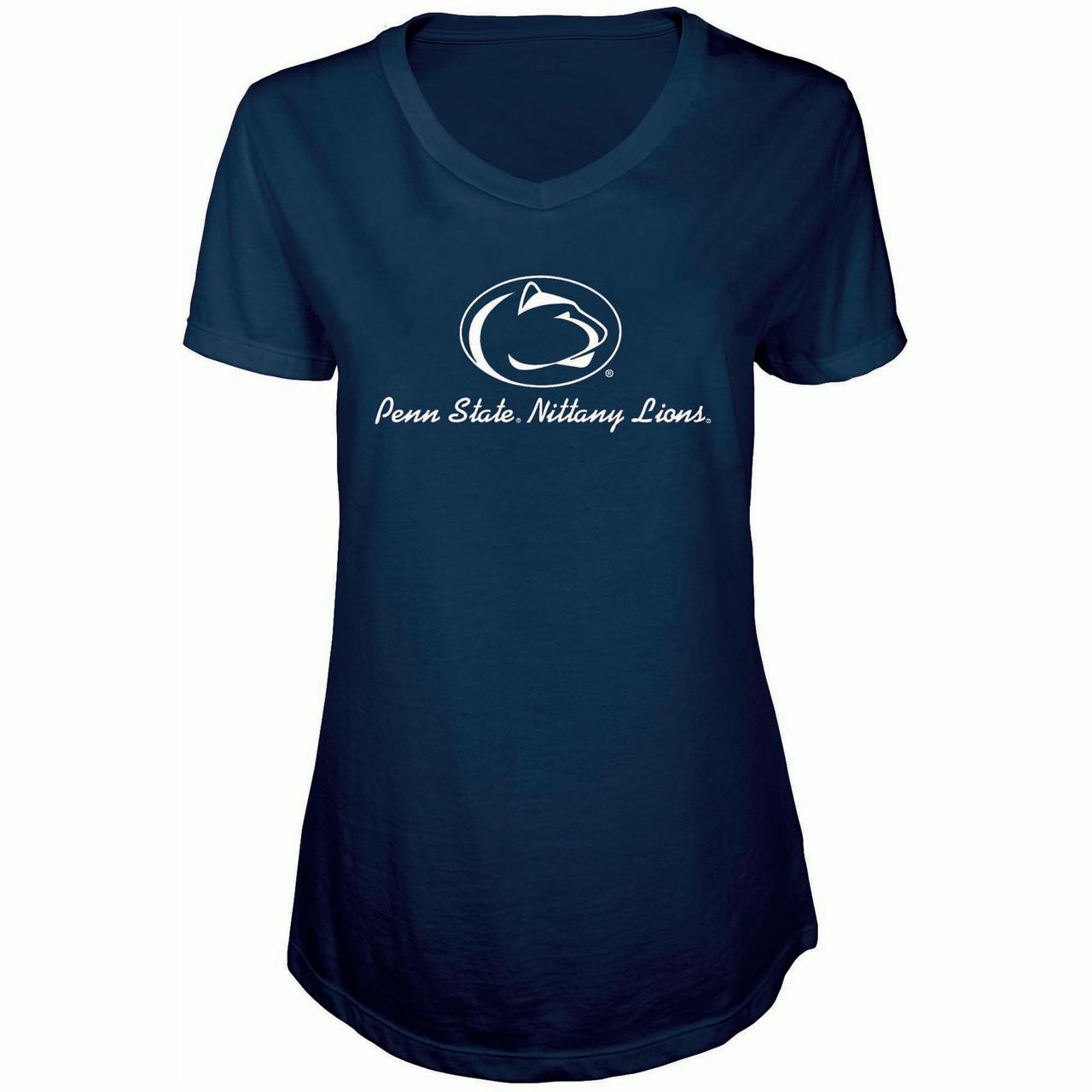 Women's Russell Navy Penn State Nittany Lions State V-Neck T-Shirt