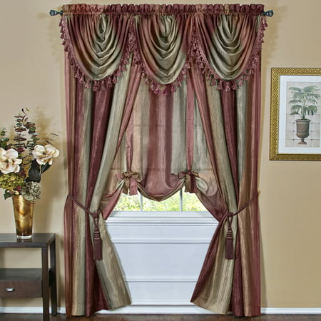 Multi-Color Striped Modern Light Filtering Semi-Sheer Window Curtain Drape Scarf Valance Tie-Up (Stripe Scarf Valance)