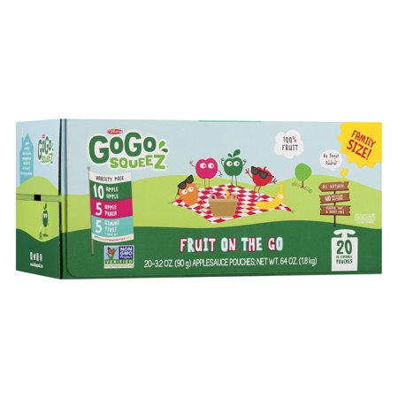 (20 Pouches) GoGo SqueeZ Apple, Peach, and Gimme Five! Applesauce, 3.2 -