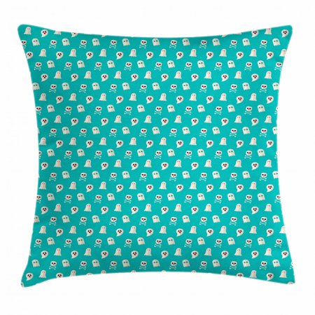 Ghost Throw Pillow Cushion Cover, Scary Ghost Spirits Skulls and Bones on Turquoise Shade Halloween Party, Decorative Square Accent Pillow Case, 20 X 20 Inches, Turquoise and Eggshell, by Ambesonne - 20 Off Spirit Halloween Coupon