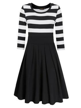 Women Casual Scoop Neck 3/4 Sleeve A-Line Swing Dress Stripe Modest Dresses Black 2XL