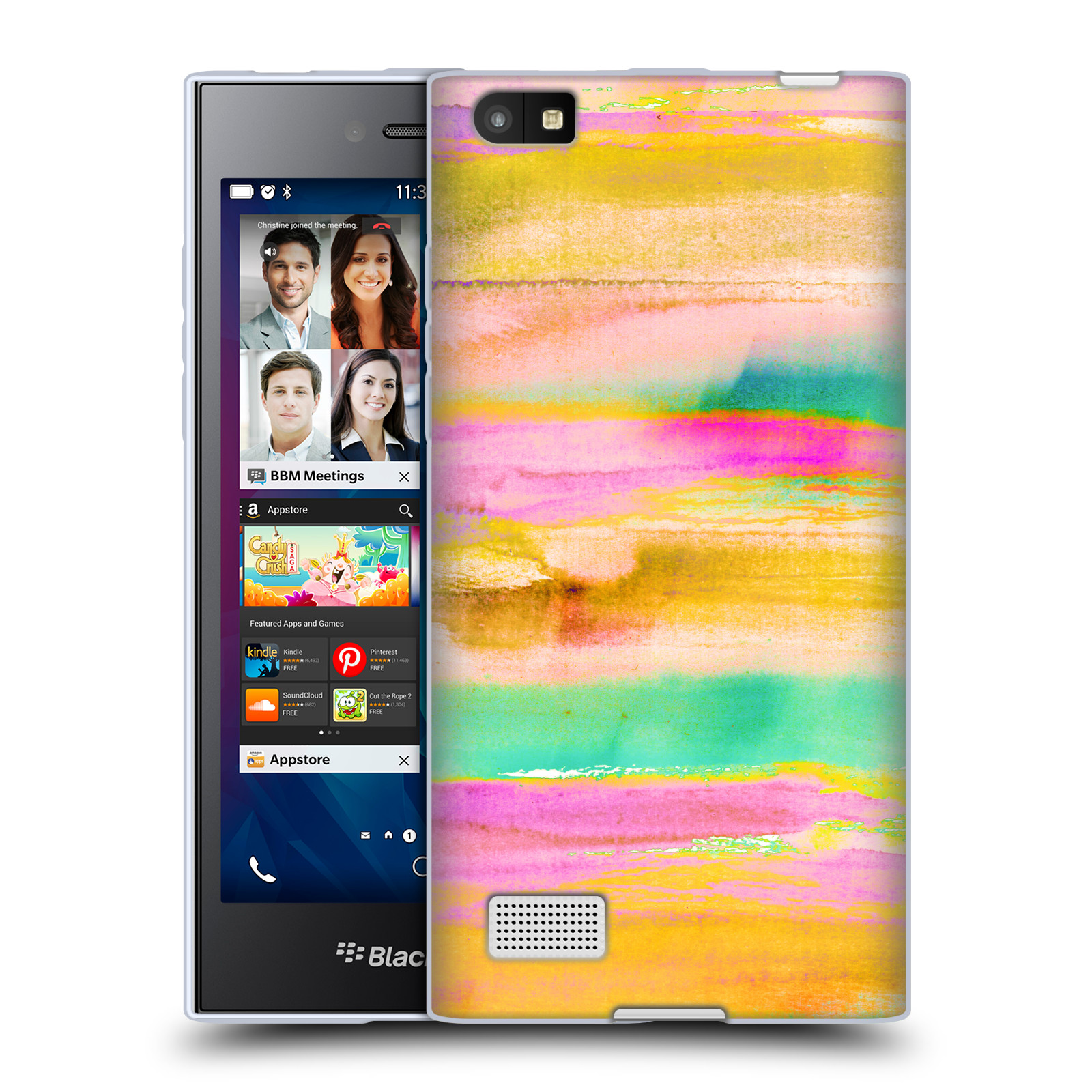 OFFICIAL AMY SIA ABSTRACT COLOURS SOFT GEL CASE FOR BLACKBERRY PHONES