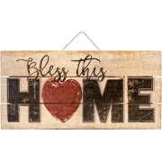 """Highland Woodcrafters 12""""X6"""" Wood Slatted Sign-Bless This Home"""