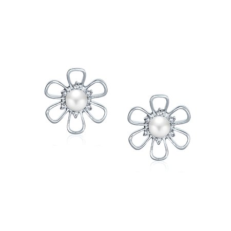 White Freshwater Cultured Pearl Open Daisy Flower CZ Stud Earrings For Women For Teen 925 Sterling Silver - image 1 of 3