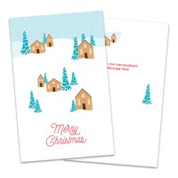 Personalized Whimsical Outdoor Cabin Scene Folded Christmas Greeting Card