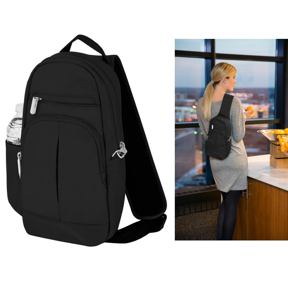 Travelon Anti Theft Classic Light Backpack Sling RFID Blocking Bag Back Pack !