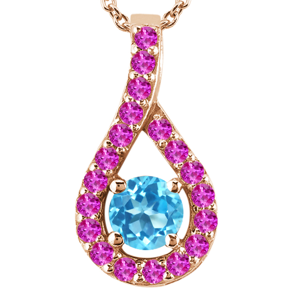 0.33 Ct Round Swiss Blue Topaz Pink Sapphire 18K Rose Gold Pendant