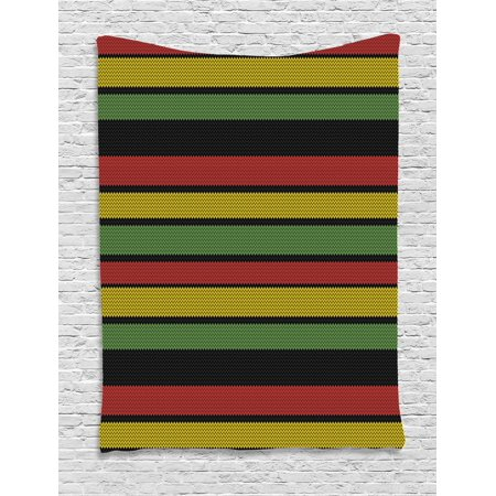 Jamaican Tapestry, Knitted Effect Rastafarian Stripes Abstract Caribbean Culture Elements Tropical, Wall Hanging for Bedroom Living Room Dorm Decor, Multicolor, by Ambesonne - Caribbean Decor