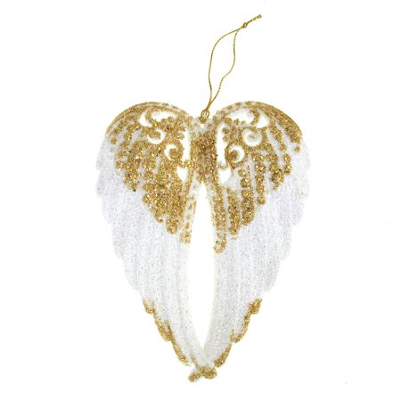 White with Gold Glitter Angel Wing Christmas Tree Ornaments, 6-Inch, 1-Piece ()