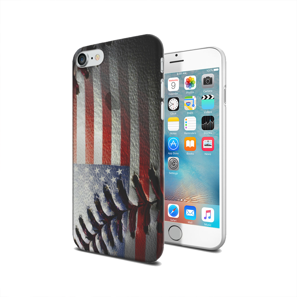 KuzmarK iPhone 7 Clear Cover Case - American Flag Baseball Stitch