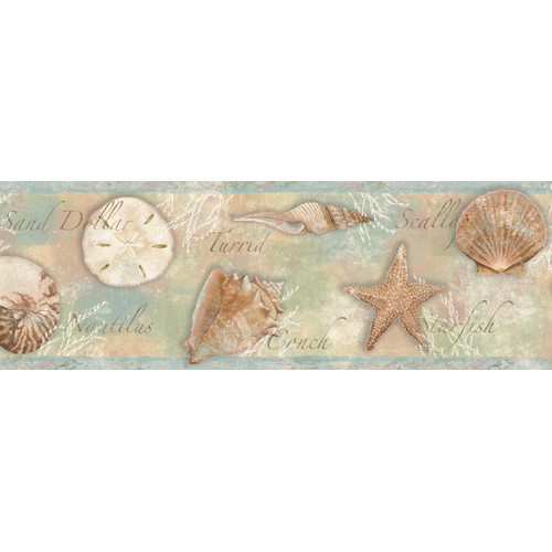 Brewster Home Fashions Borders by Chesapeake Quinten Seashells Toss 15' x 7.75'' Scenic 3D Embossed Border Wallpaper